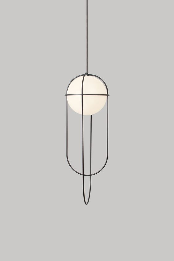 Simple Round orbit ceiling light fixture with black iron dainty details for a contemporary living room design