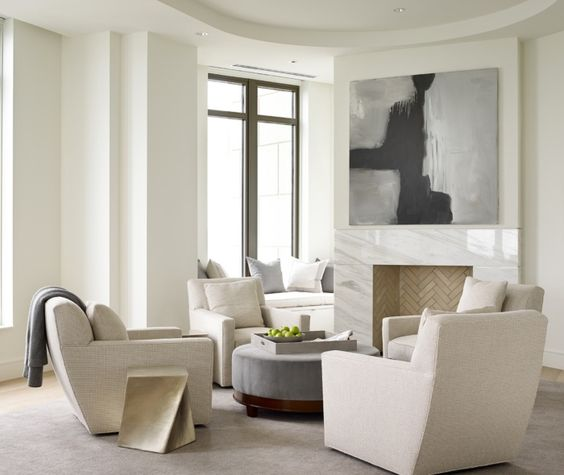 Contemporary Living Room with Four Modern Swivel Accent Chairs