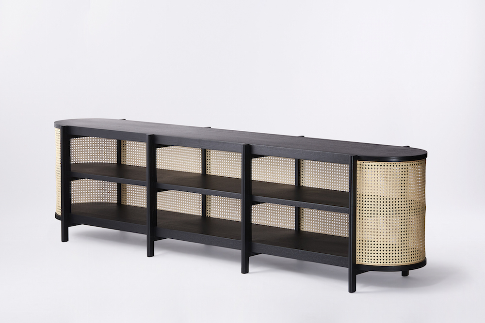 Long Black and Wood Woven Cane Rattan Media and Book Cabinet Console Table - Spring Furniture Trends 2019