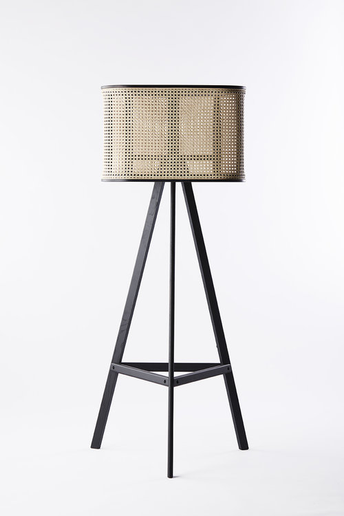 Black Painted Wood and Woven Cane Rattan Lamp - Cane Furniture