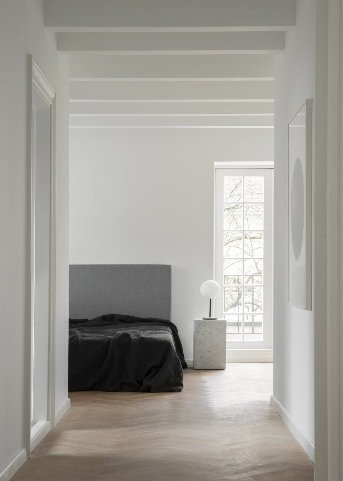 Modern White Bedroom with Eggshell Finish Walls and Satin Sheen Moulding