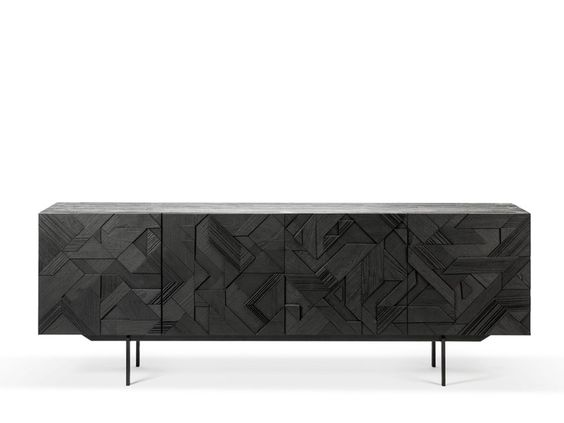 Geometric abstract wood media cabinet credenza for a chic contemporary dining room edesign.jpg