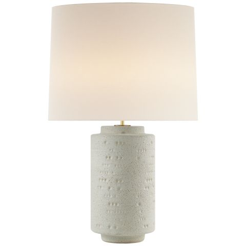 Round White Textured Stone Table Lamp for A Contemporary and Chic Feminine Dining Room.jpg