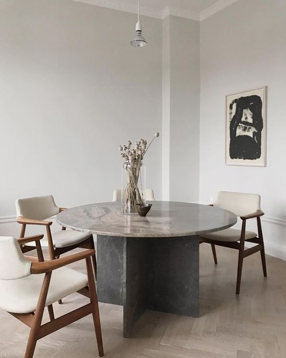 Round Grey Marble Dining Table with X Cross Shaped Base and Pros and Cons of Dining Tables