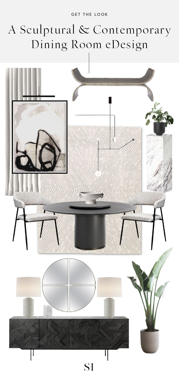 Get the Look- Sculptural Modern Dining Room Design and E-design
