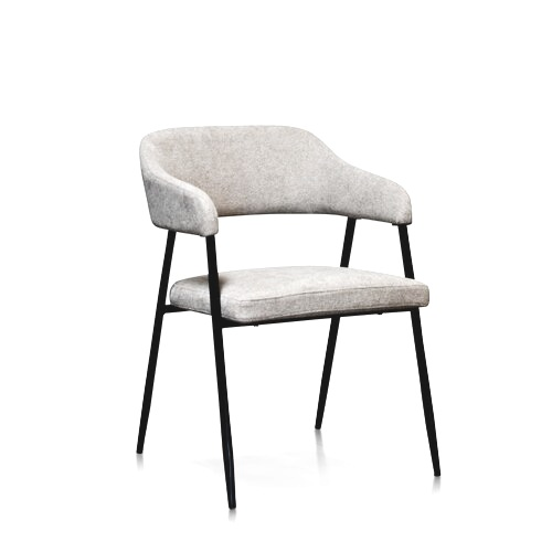 Upholstered Dining Chair in light beige with black metal legs and accents.jpg