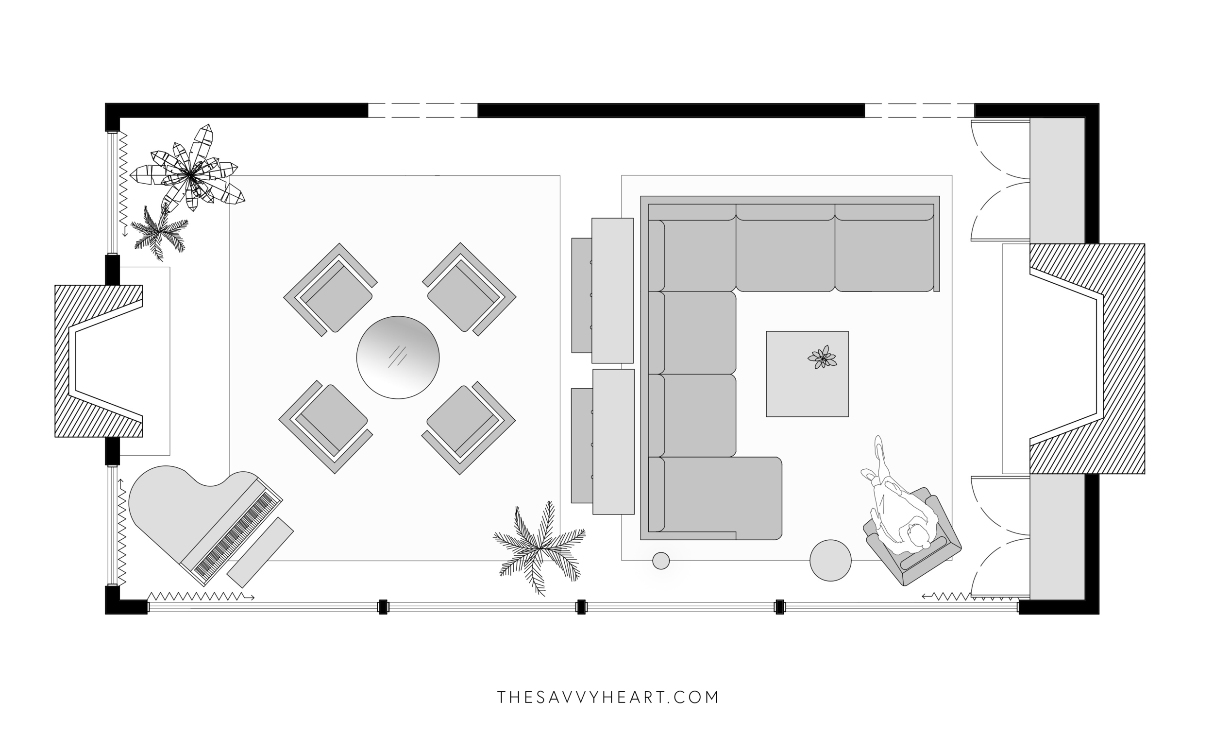 5 Furniture Layout Ideas for a Large Living Room, with Floor Plans