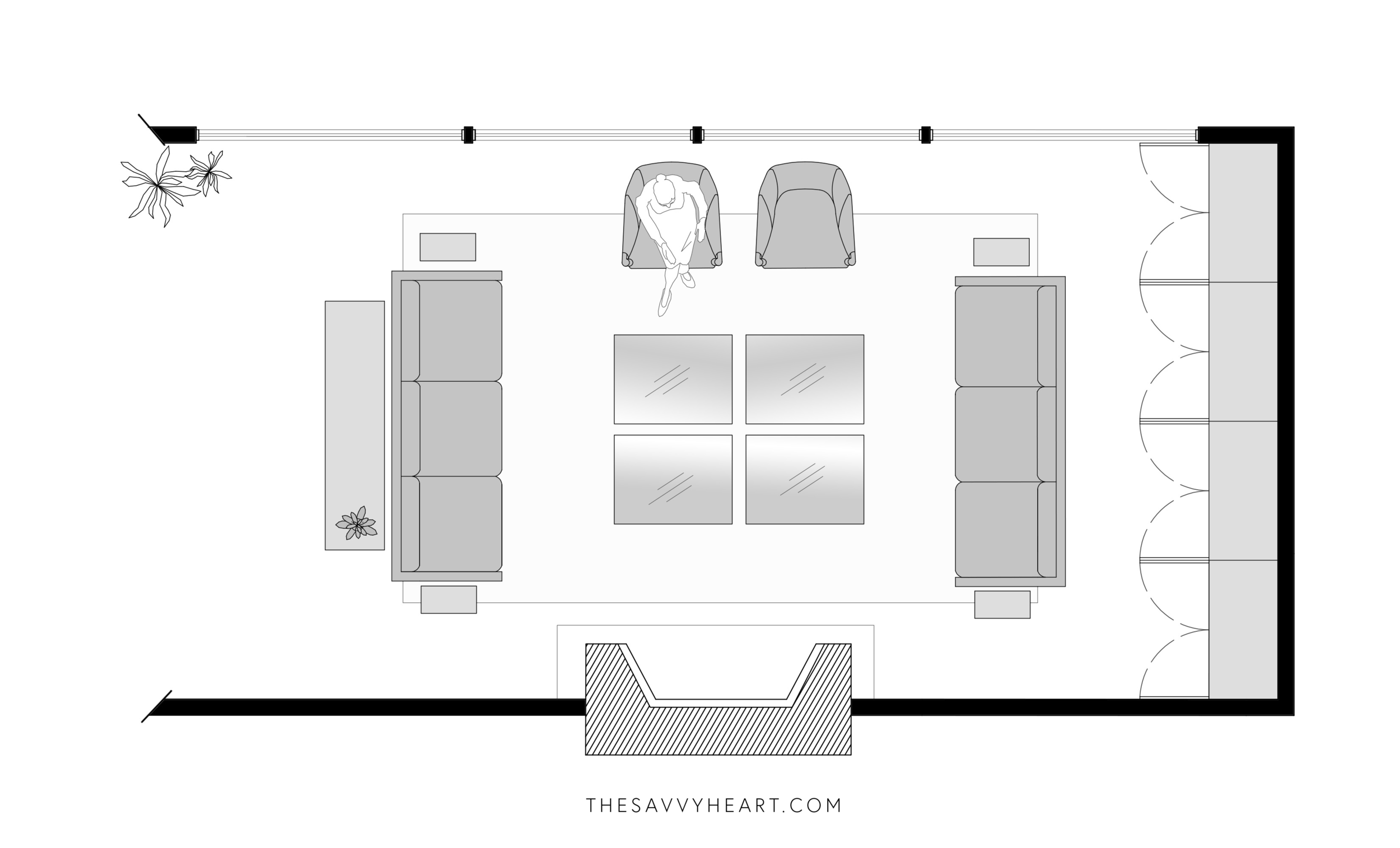 5 Furniture Layout Ideas For A Large Living Room With Floor Plans The Savvy Heart