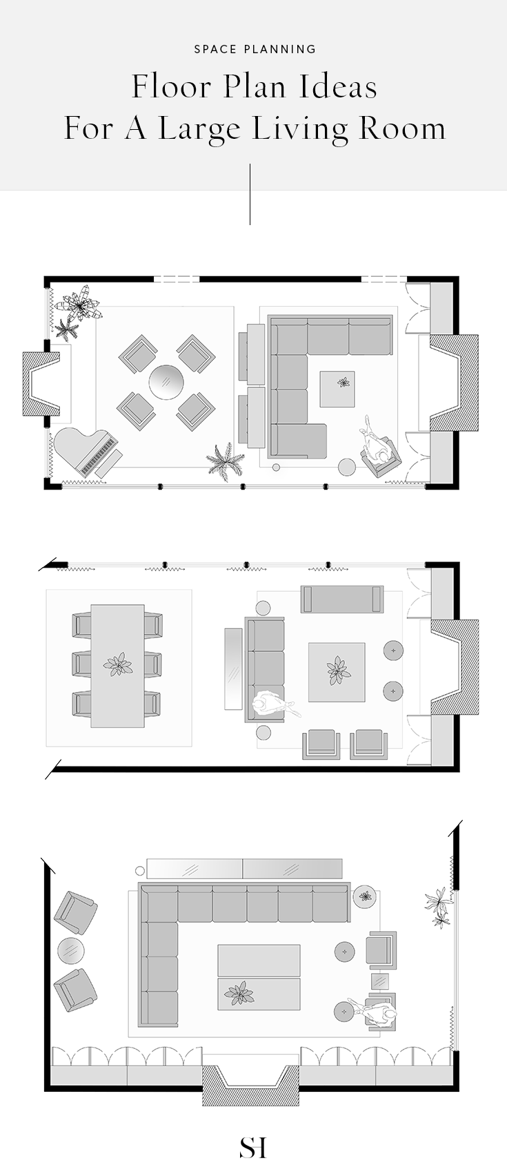 Floor Plan And Layout Ideas For Furniture In A Large Rectangle Living Room