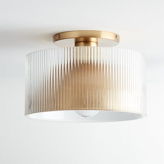 gold and glass ribbed fluted texture flush mount lighting fixture - interior design trends of 2019 and 2020.jpg