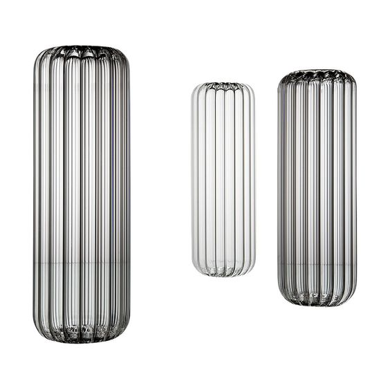 Ribbed and fluted large glass vase for flowers and branches.jpg
