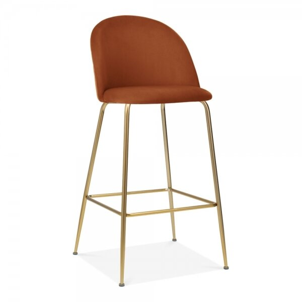burnt orange rust colored fabric barstool with gold legs - fall seasonal interior design trends by the savvy heart.jpg