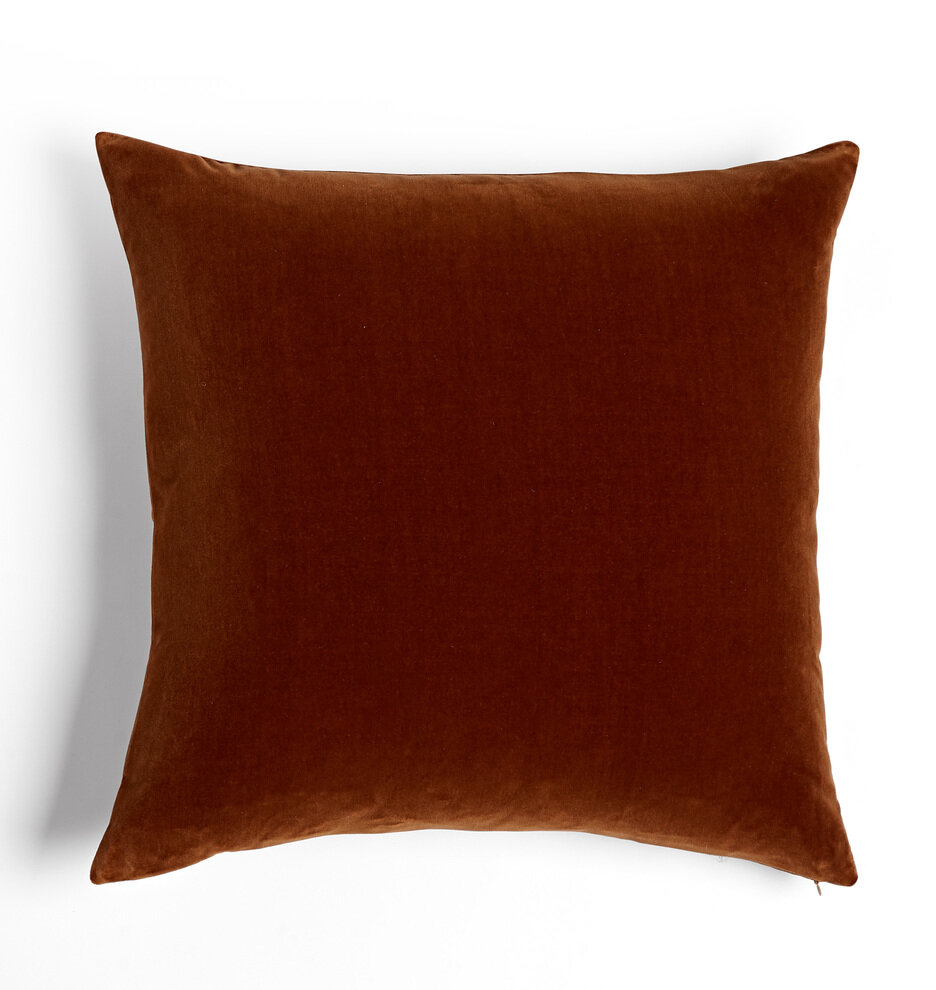 Walnut colored Rust orange velvet throw pillow - Interior Design Trends for Fall and Autumn by The Savvy Heart.jpg