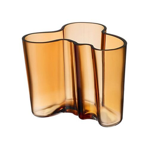 Folded Amber colored Glass vase with Ripples - Interior design trends by The savvy heart.jpg