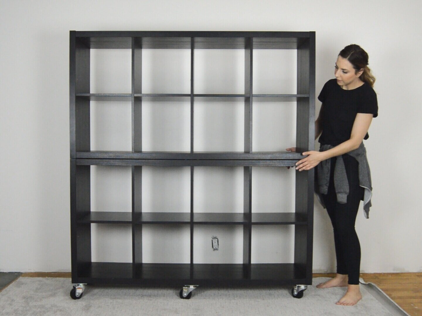 Ikea+Hack+DIY+Modern+Library+Card+File+Catalog+Cabinet+with+Drawers+using+Kallax+Shelf+Bookcase+by+The+Savvy+Heart