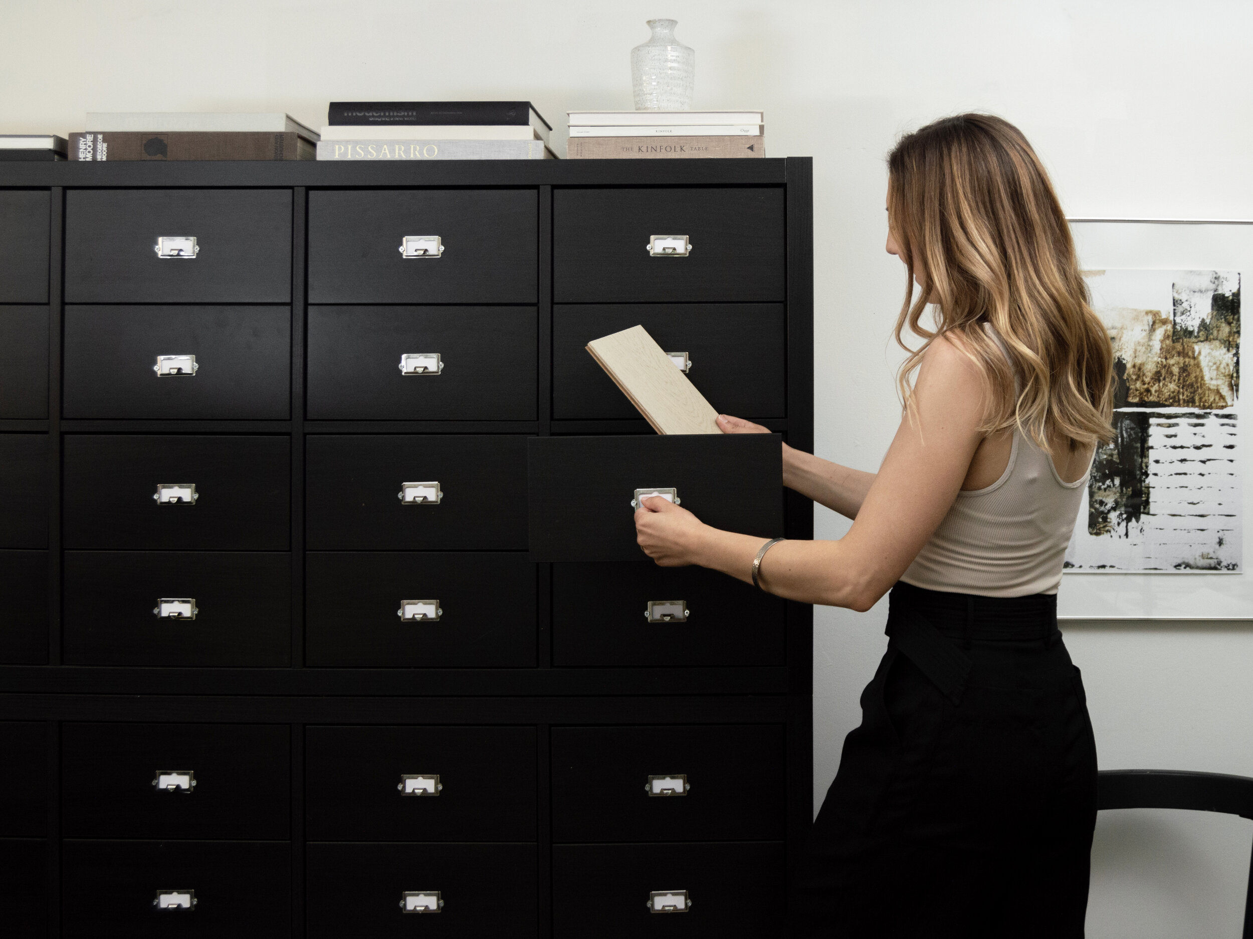 DIY Ikea Hack with kallax Shelves - A modern Library Card catalog cabinet by The Savvy Heart