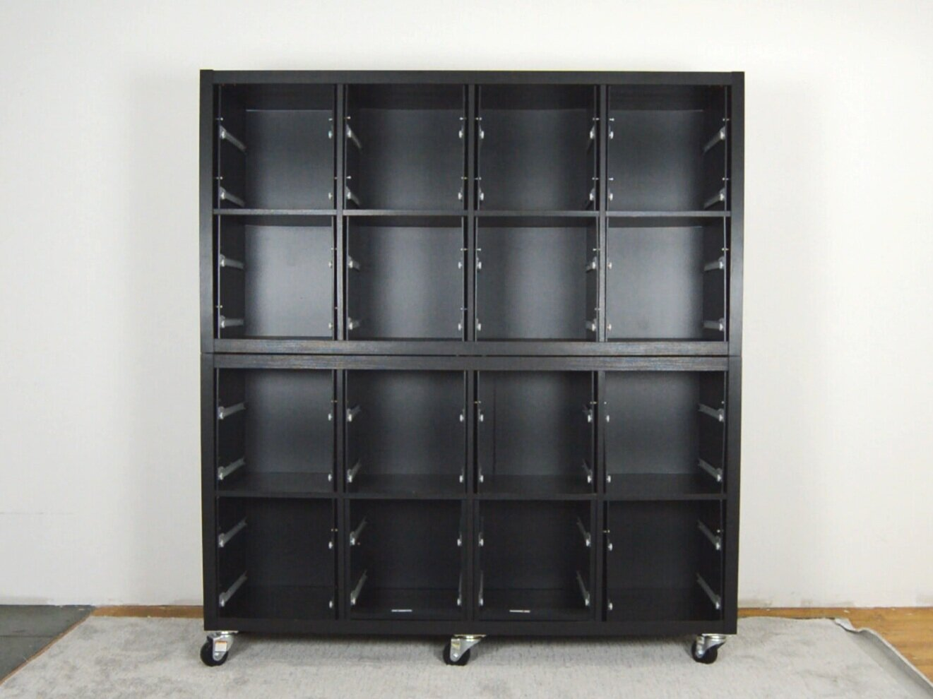 DIY Black Brown Ikea Kallax Hack - Library Card Catalog Inspired Cabinet on Wheels