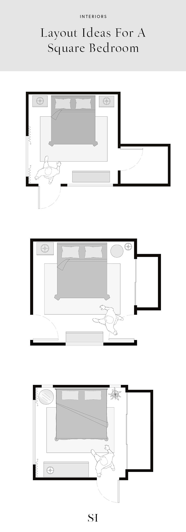 8 Layout Ideas for a 8 x 8 Square Bedroom (w/ Floor Plans) — The