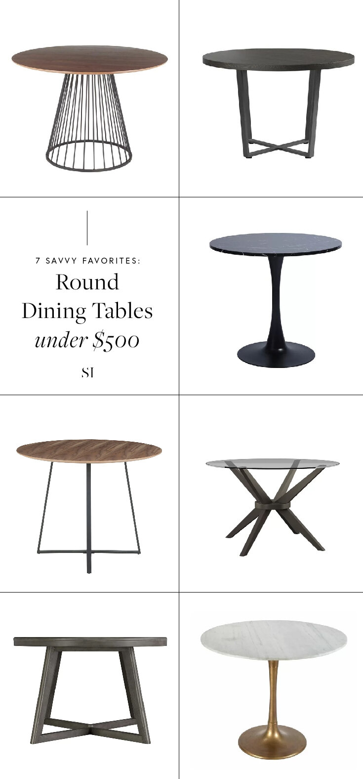 Modern and contemporary round dining room tables for under $500 - by the savvy heart interior design studio