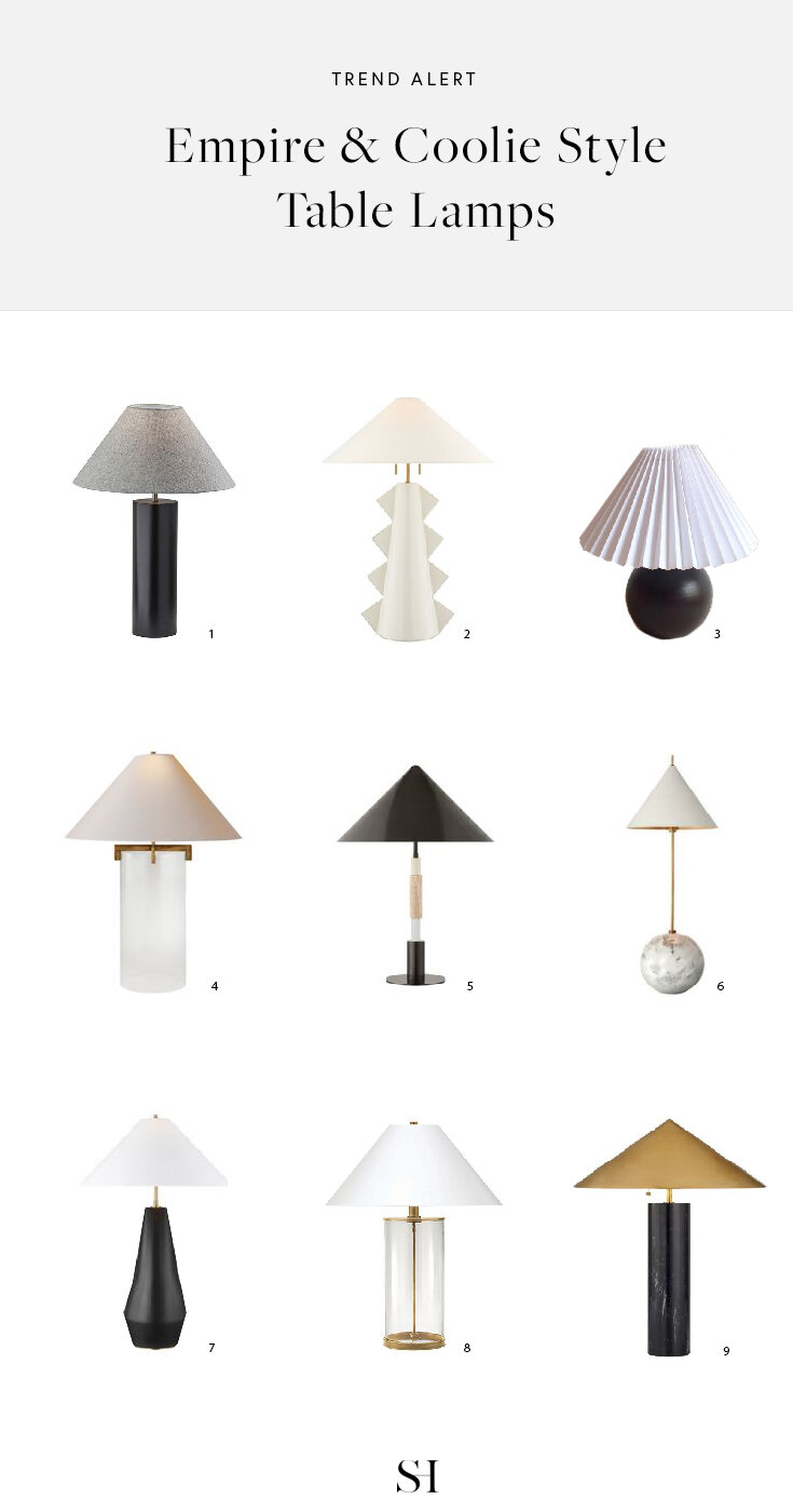Tapered, coolie and empire style table lamps for a modern and contemporary home