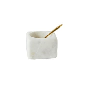 Marble salt dish with brass spoon - Chic entertaining must haves for hosting and serving by the savvy heart