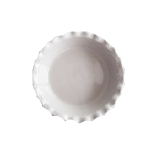 Fluted ceramic pie dish with speckled dots - Chic entertaining must haves for hosting and serving by the savvy heart
