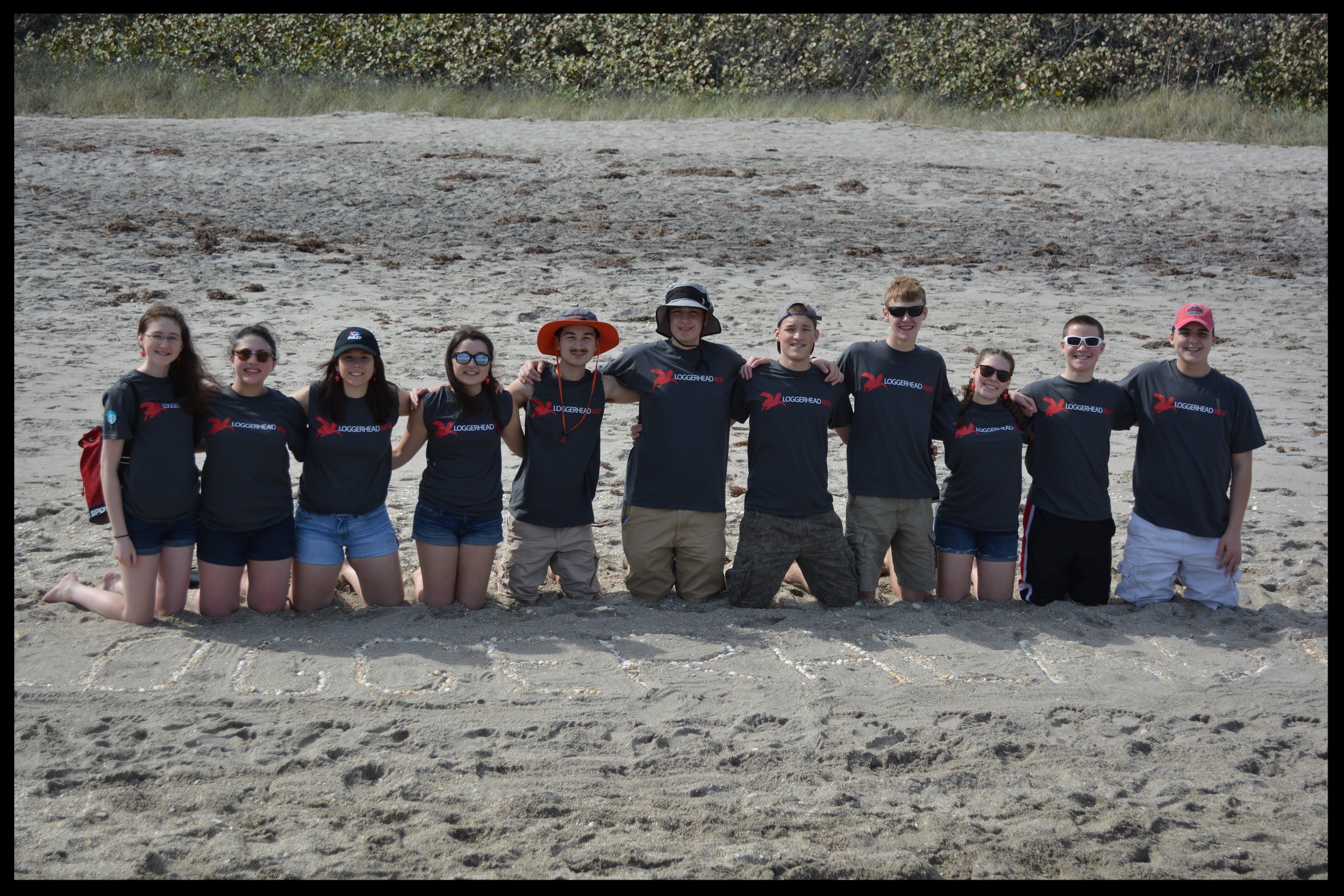 The team at our trip to Juno Beach, Florida in January 2017. We learned about marine life, collected harmful debris on the beaches, and met our adopted sea turtle Waffle at the Loggerhead Marinelife Center.