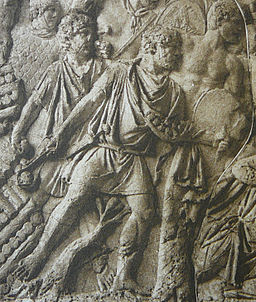 Roman slingers (funditores) in action in the Dacian Wars. Detail from Trajan's Column, Rome