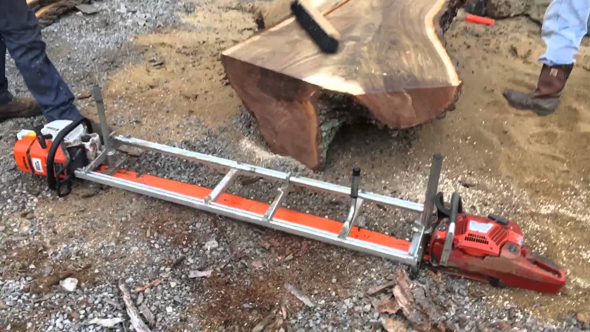 For milling extremely large logs, an Alaskan saw mill with dual chainsaws may be the only option.