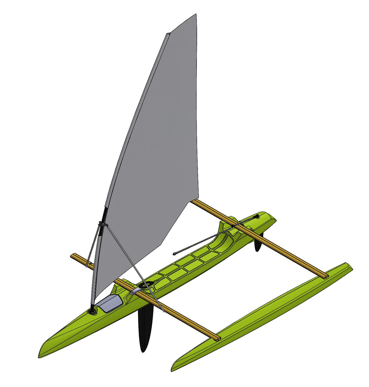 Preliminary CAD model of a rototmolded tacking outrigger with a windsurfer rig.