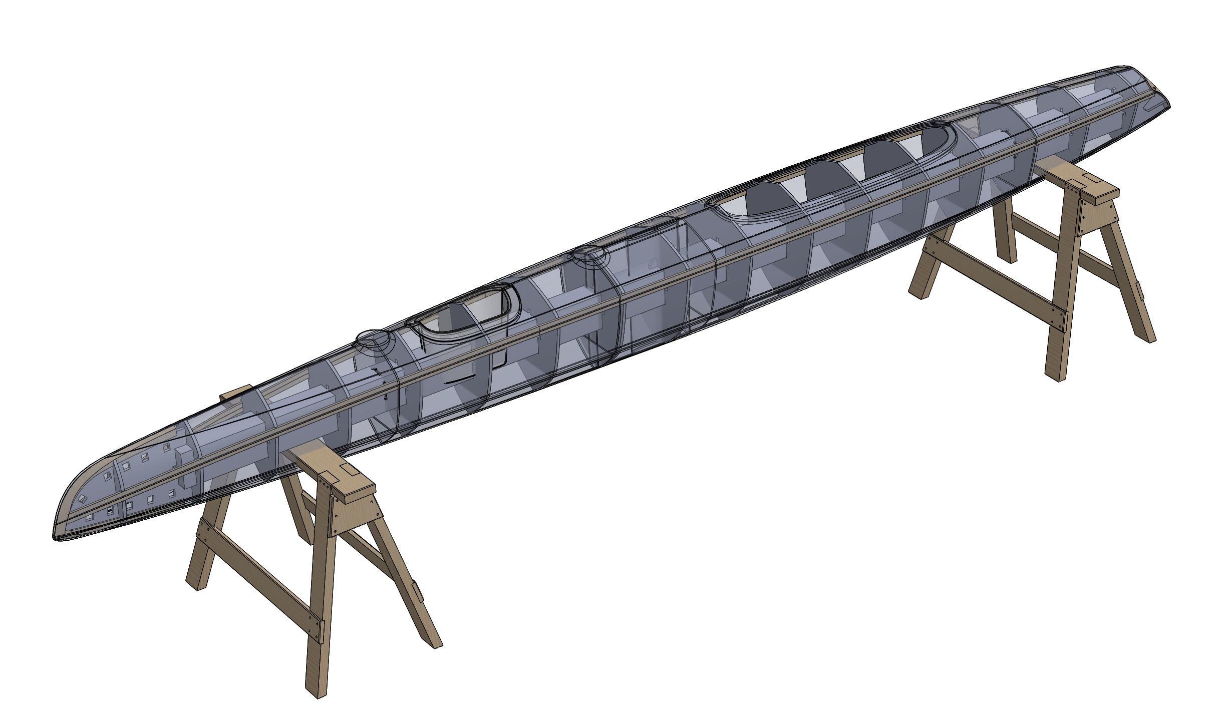 The image above is another screenshot from Solidworks. It shows my original plan for the mold of this boat, including the use of intersection curves to create cross sectional mold frames.