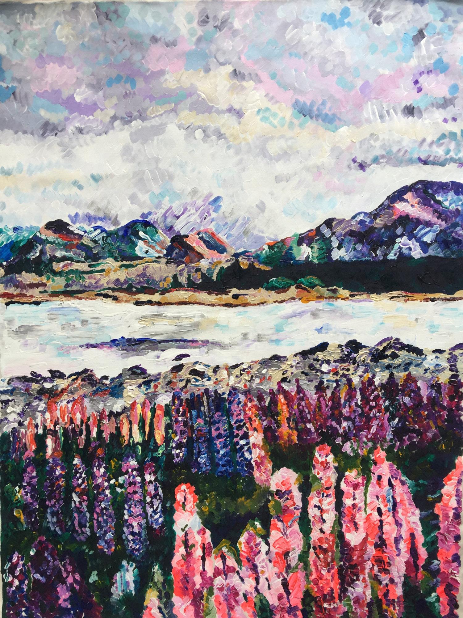 """Aubree's Island  Acrylic on canvas, 30"""" x 40"""" 2016"""