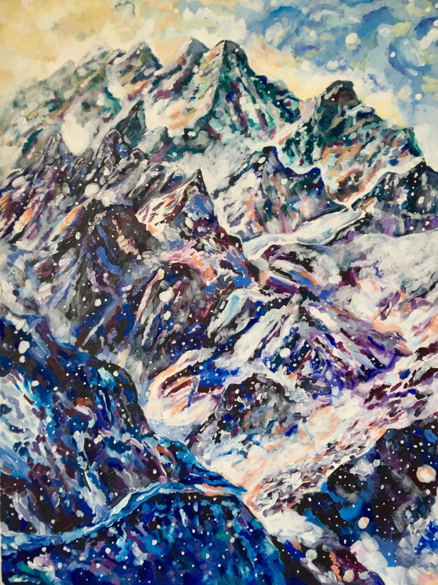 """The Climb  Acrylic on canvas, 30"""" x 40"""" 2016"""