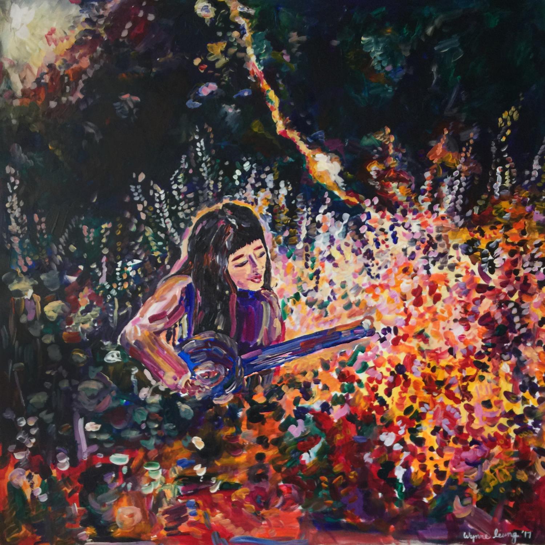 """Aubree At The Park  Acrylic on canvas, 36"""" x 36"""" 2017"""