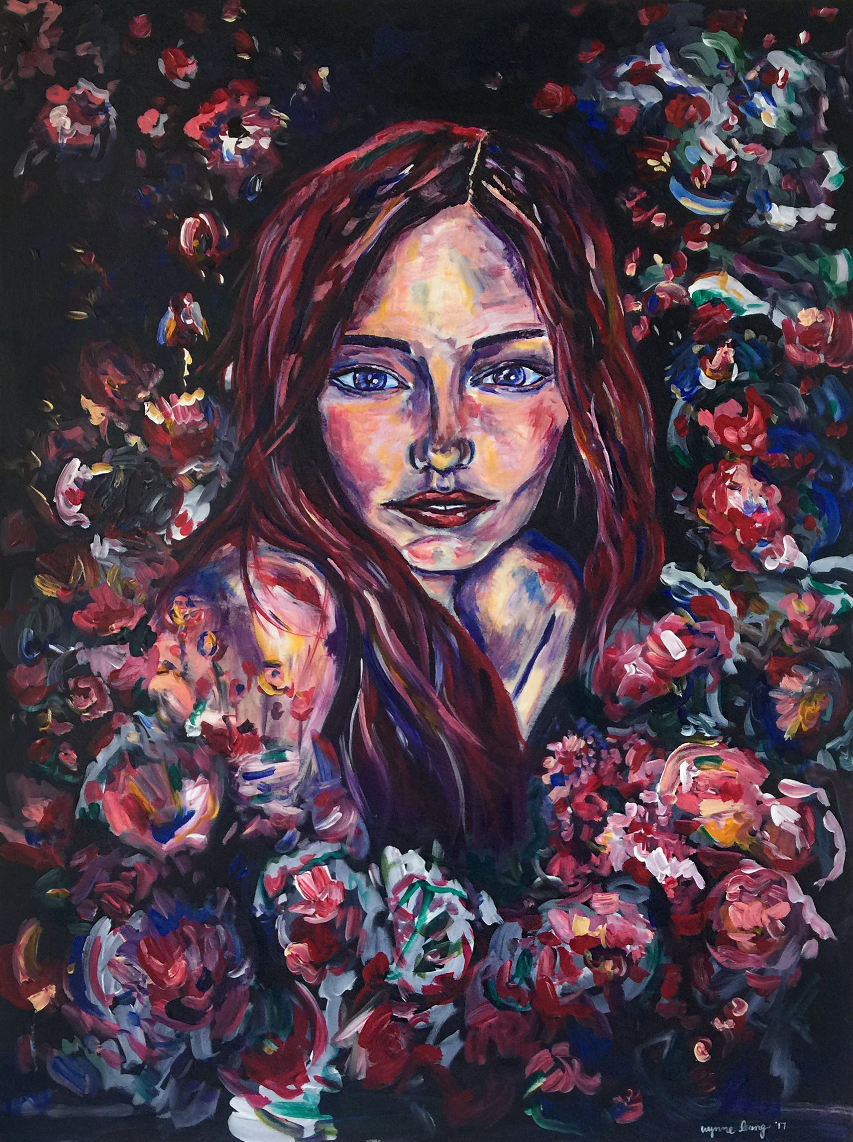 "Aubree And The Cherry Blossoms  Acrylic on canvas, 30"" x 40"" 2016"