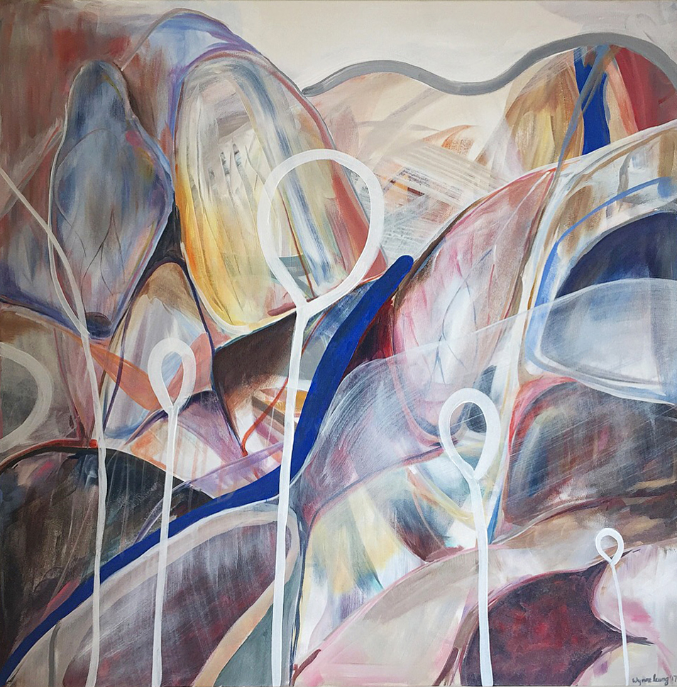 "Follow The Mothership  Acrylic on canvas, 48"" x 48"" 2017"