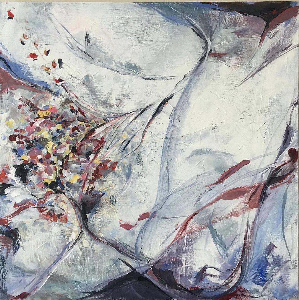 "Frozen Ivory Knees  Acrylic on Canvas, 32"" x 32"" 2018"