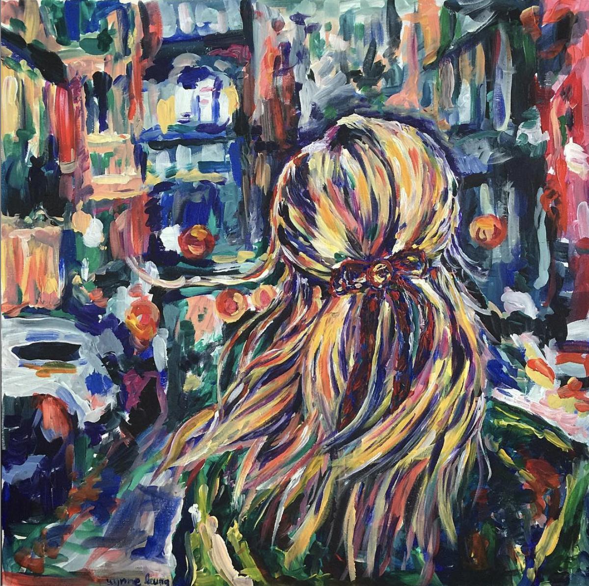 """The City  32"""" x 32"""" Acrylic on canvas 2016"""