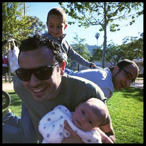 Tiempo en familia - Con mi hermano, mi sobrino y con mi hijo Oscar.
