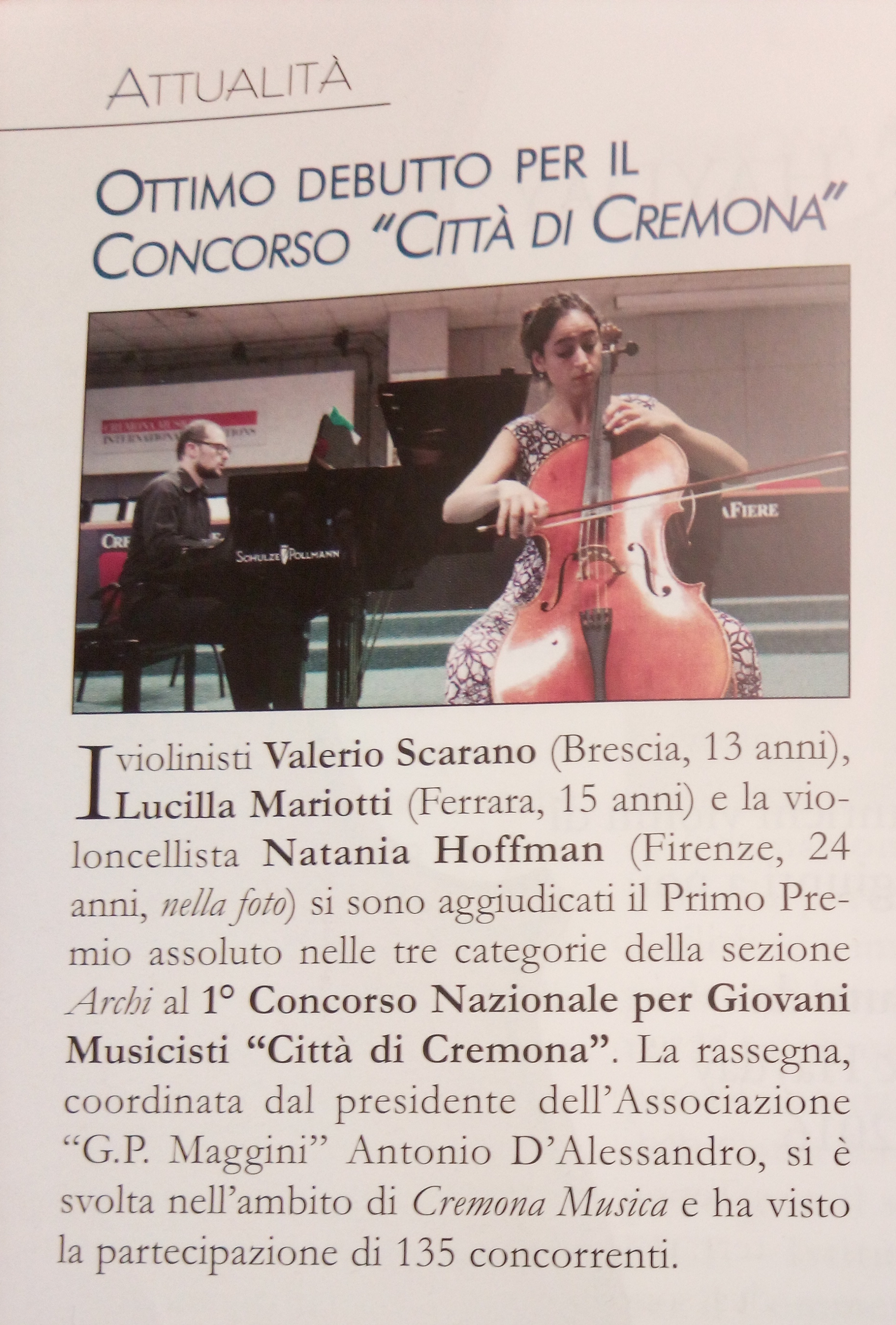 """From """"Archi"""" Magazine. With Stefano Ghisleri, piano"""