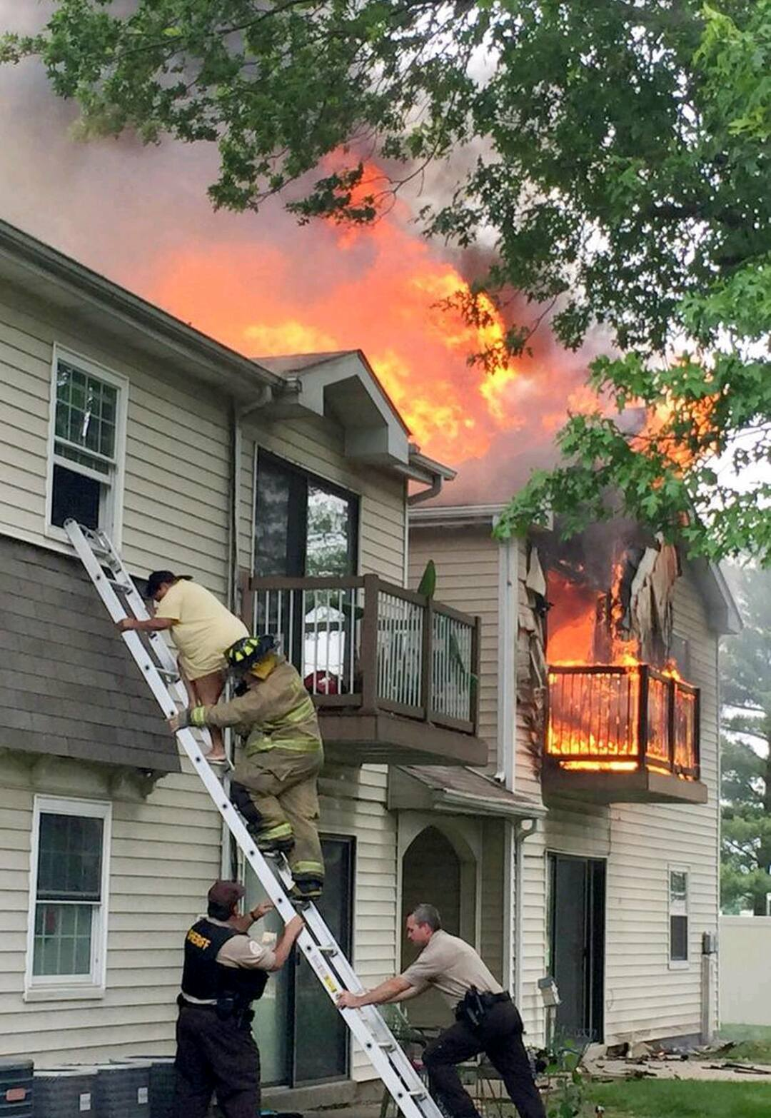 On 24 May 2015, ESFD firefighters responded to a fire in a 16-unit apartment complex. Several trapped residents were rescued, and the fire was stopped before it could spread to the entire building. Photo Credit: Belleville News Democrat