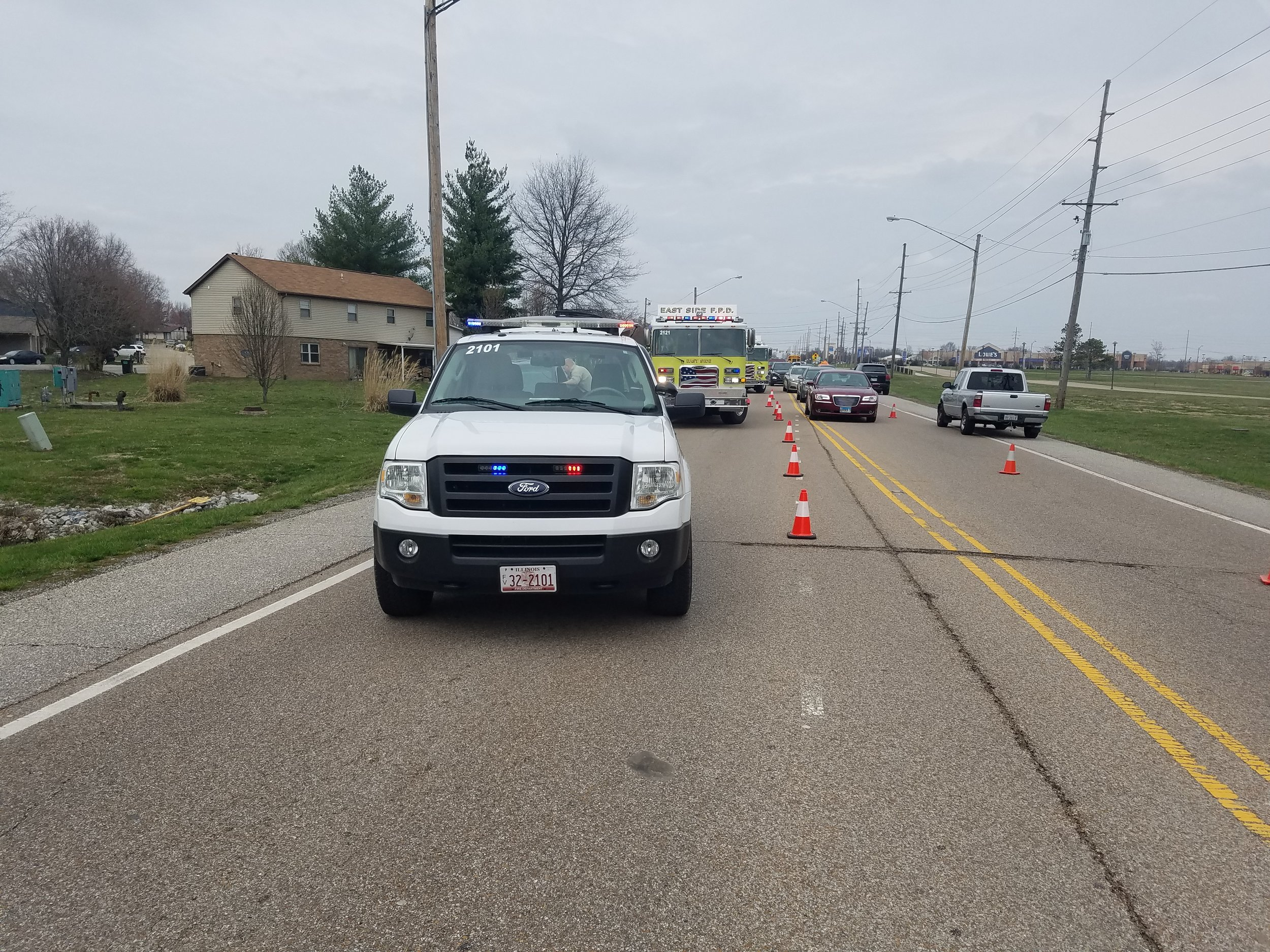 On 03/29/19, East Side responded for a vehicle accident with injuries. East Side assisted with traffic control.