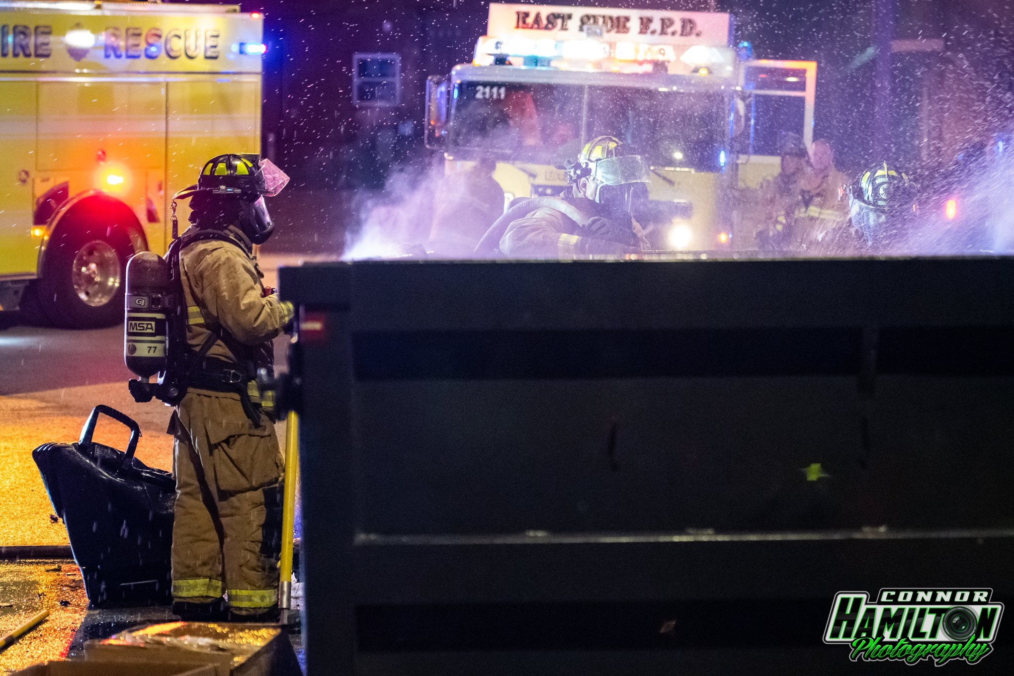 On 05/26/2019, East Side Fire responded for a dumpster fire. The fire was quickly knocked down preventing the fire from spreading to the nearby structure.