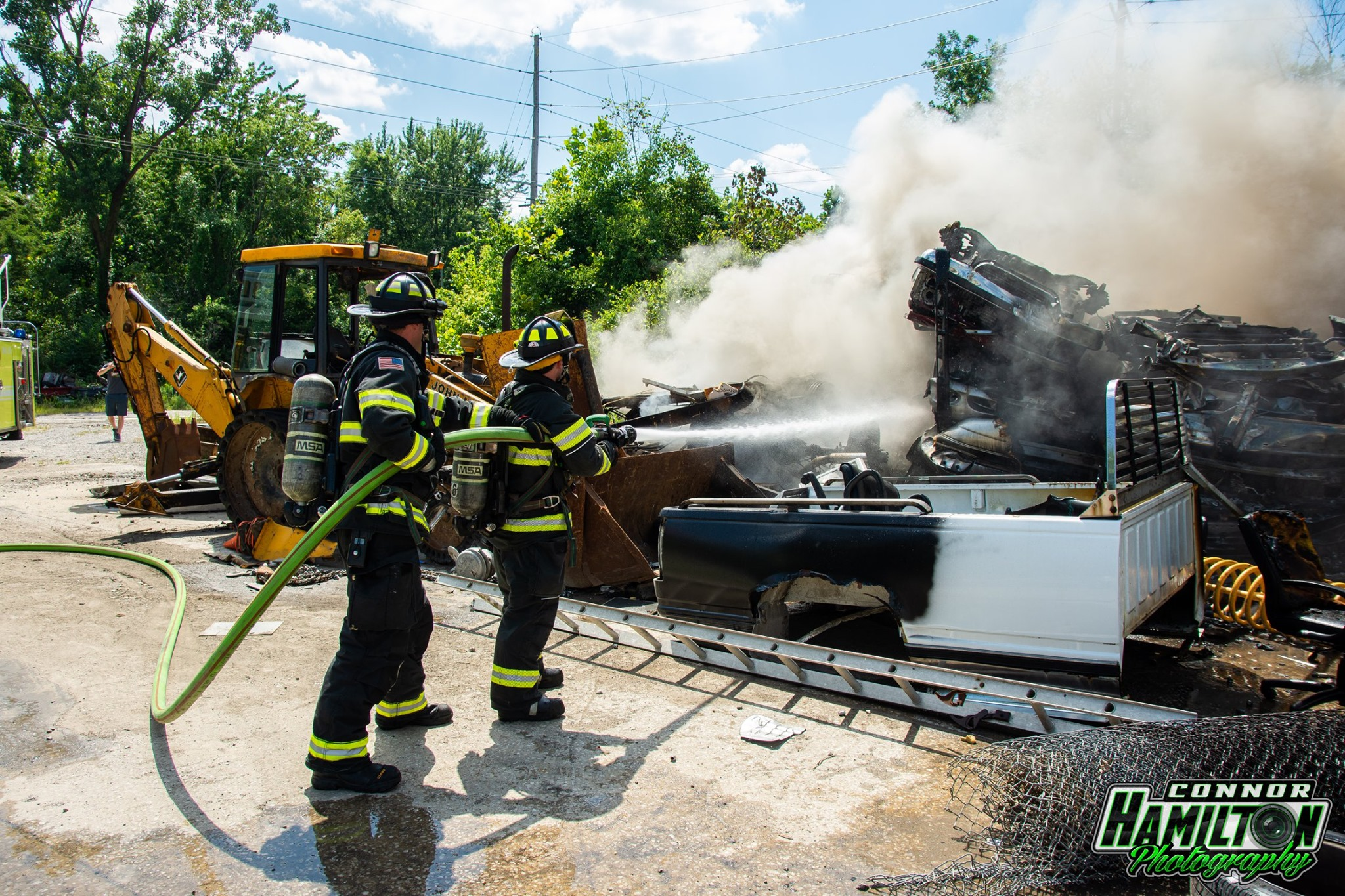 On 07/27/2019, East Side Fire responded for a fire in a junk yard with automatic mutual aid from Swansea Fire Department. Belleville Fire Department and Northwest Fire Department also responded mutual aid.