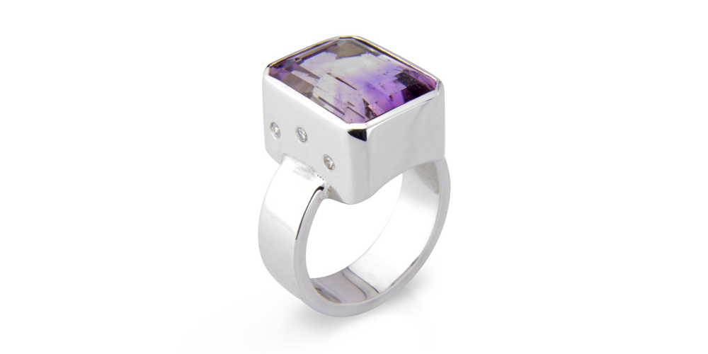 Bi-colour amethyst, diamond and silver ring