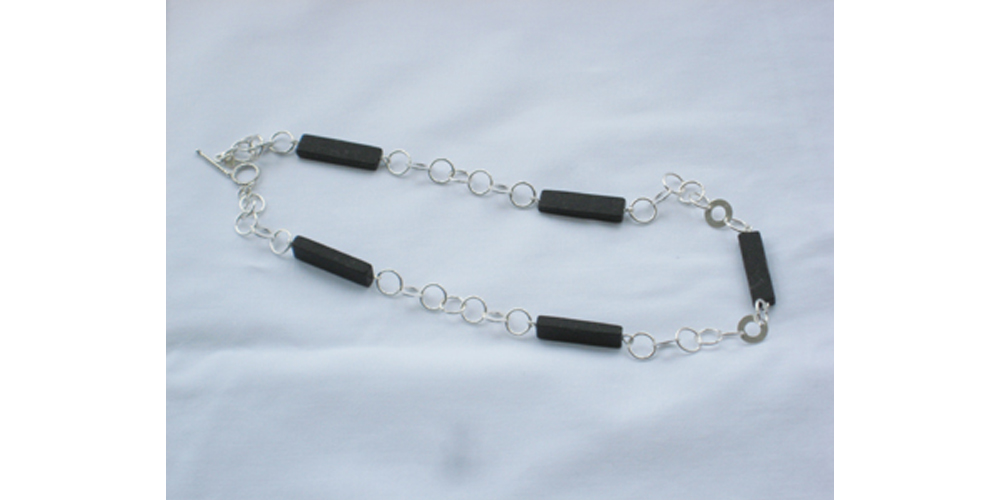 Matt Onyx and Silver Necklace