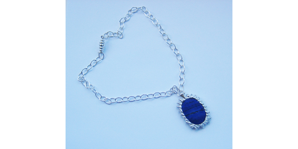 Lapis and Silver Necklace with Magnetic Clasp