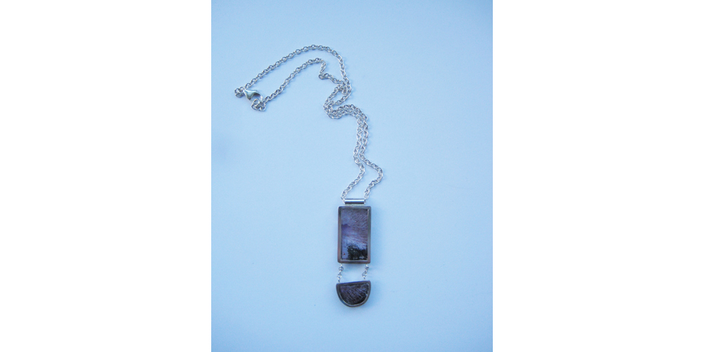 Amethyst with Hematite and Silver Pendant Necklace 2