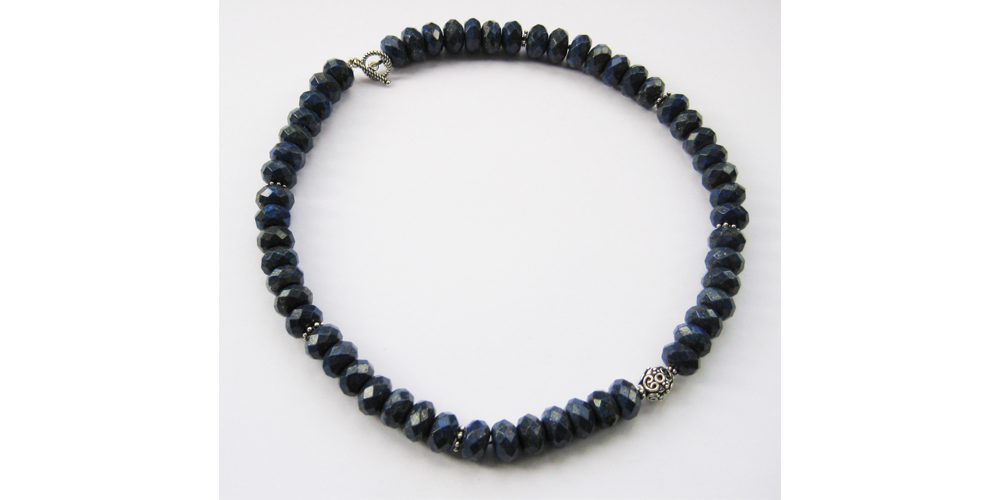 Faceted Lapis and Silver Necklace