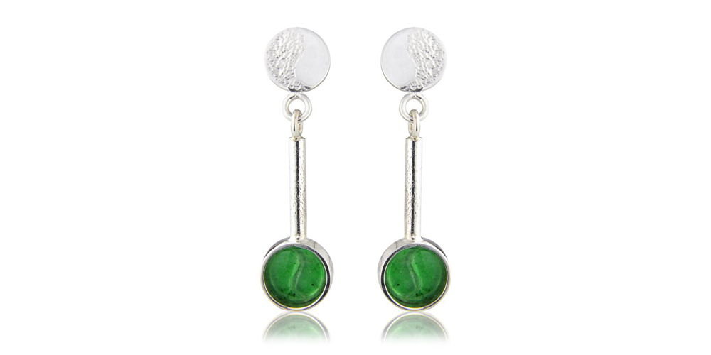 Jadeite and Silver Earrings